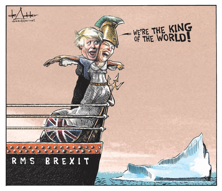 A twist on the I'm king of the world' image from Titanic.. with Boris Johnson as Leo Dicaprio