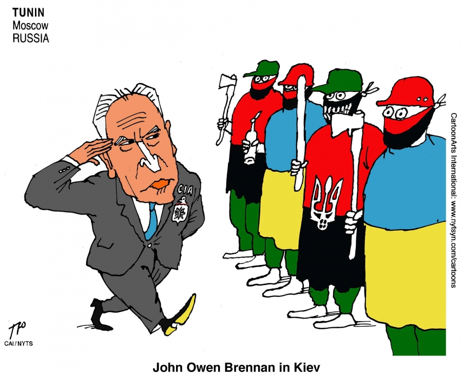 The White house confirmed that CIA chief John Brennan visited Kiev last weekend. Russian cartoonist Sergei Tunin shows him checking out Ukraine's defenders.