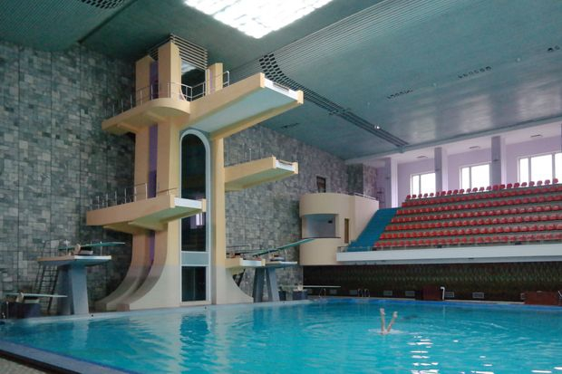 A view of the Changgwang Health and Recreation Complex, Pyongyang (1981-86)