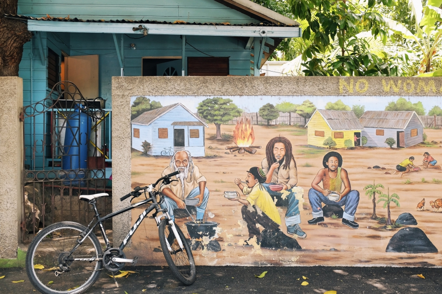 A mural in the streets of Kingston, Jamaica.