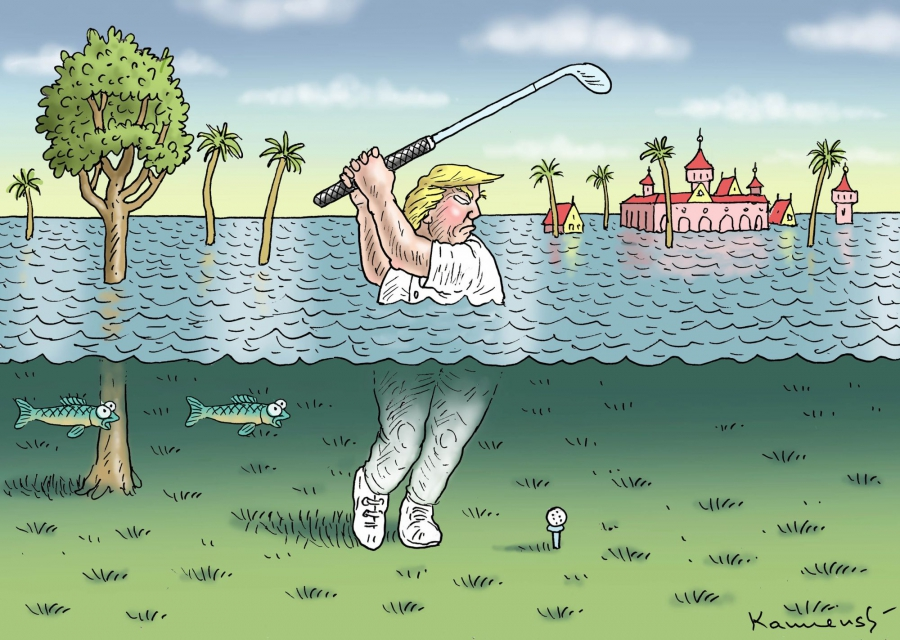 Trump playing golf underwater at Mar a Lago.