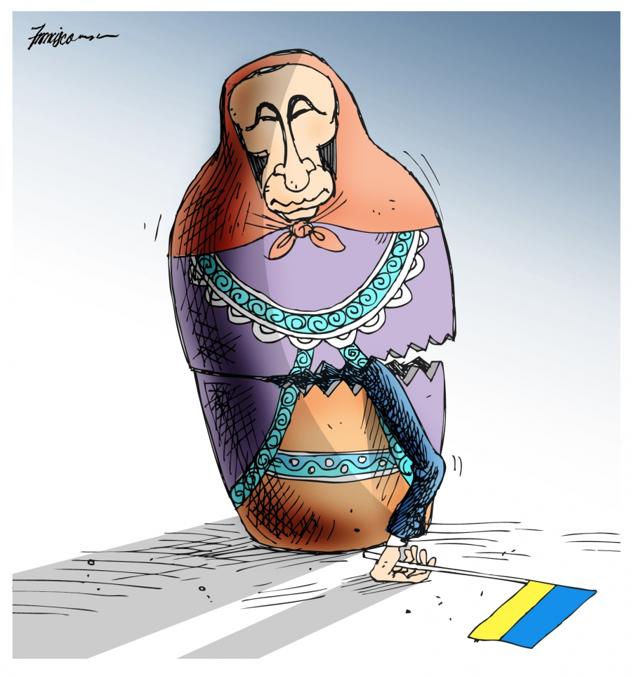 Vladimir Putin grabs Ukraine under the folksy guise of a Russian nesting doll.