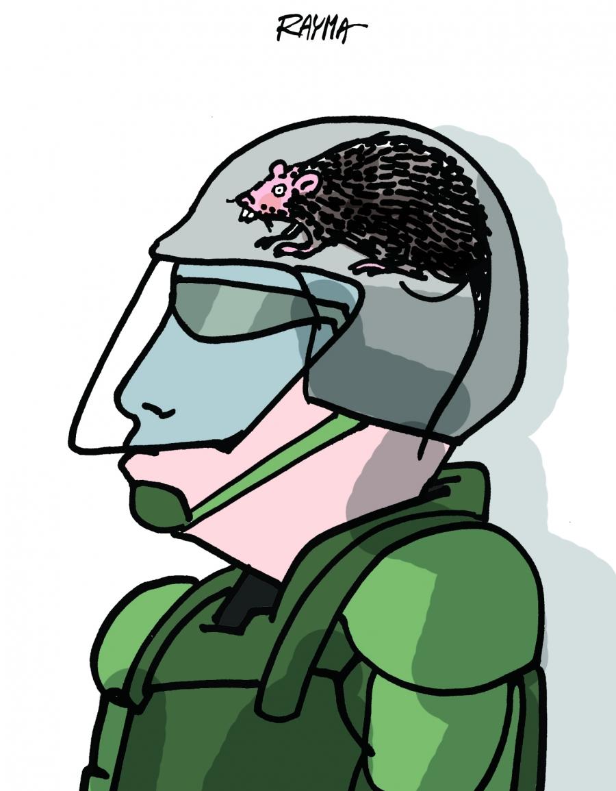 member of Venezuelan police with helmet with rat inside