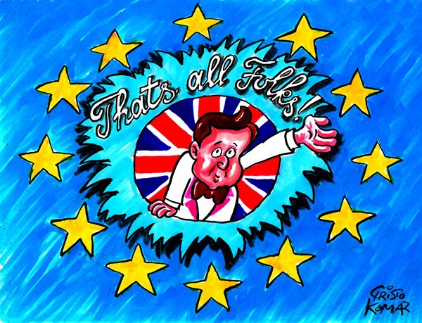 Cartoon using Looney Tunes 'That's all folks' to describe how David Cameron will step down as British PM