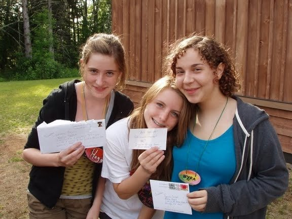 Nadia Spock (left) pictured with Svetlana Popovic (middle) and Sarah Orsak (right) at Lesnoe Ozero, one of Concordia's 15 language villages.