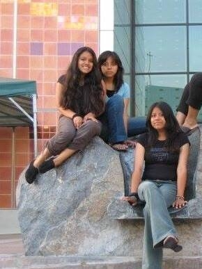 Laura López and her sisters in from the California Science Center.