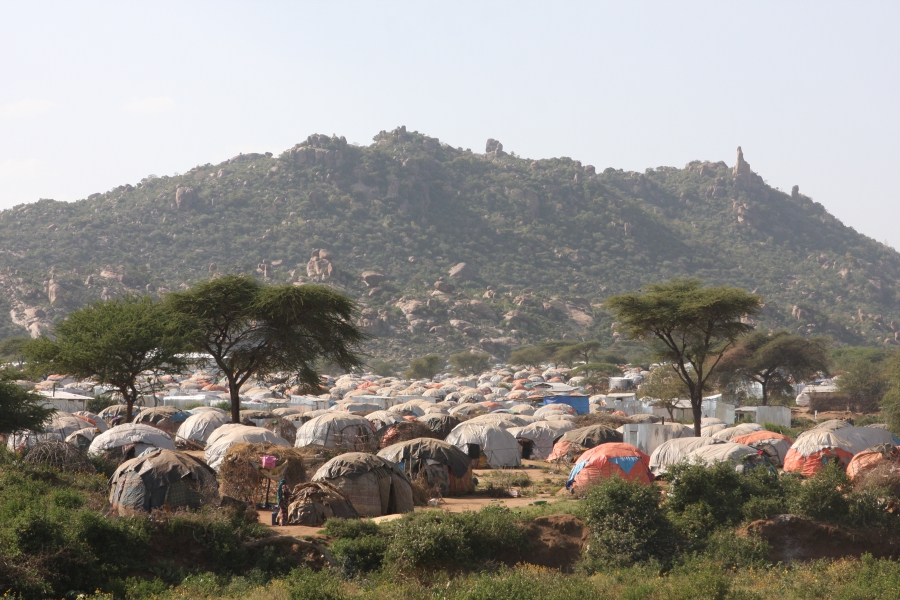 The camps for displaced Somali in the lee of the Kolenchi hills in the Ethiopia's Somali region.