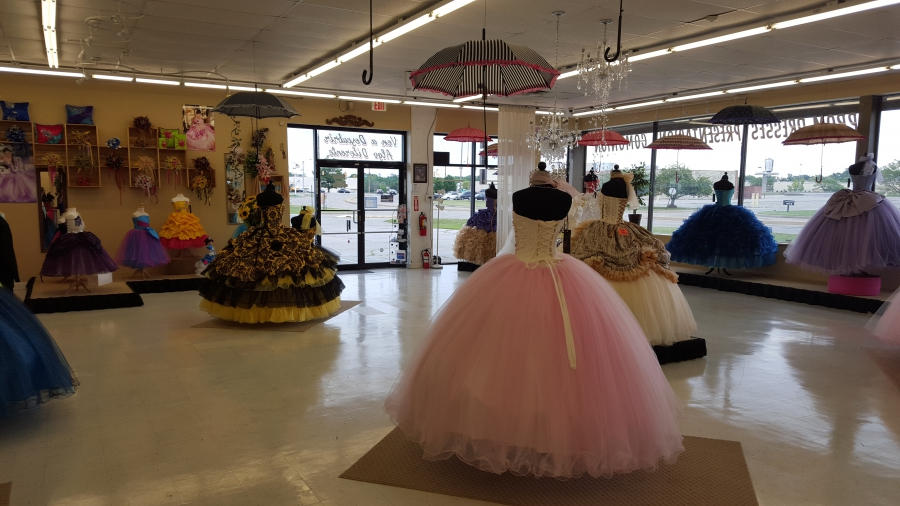 store room with gowns
