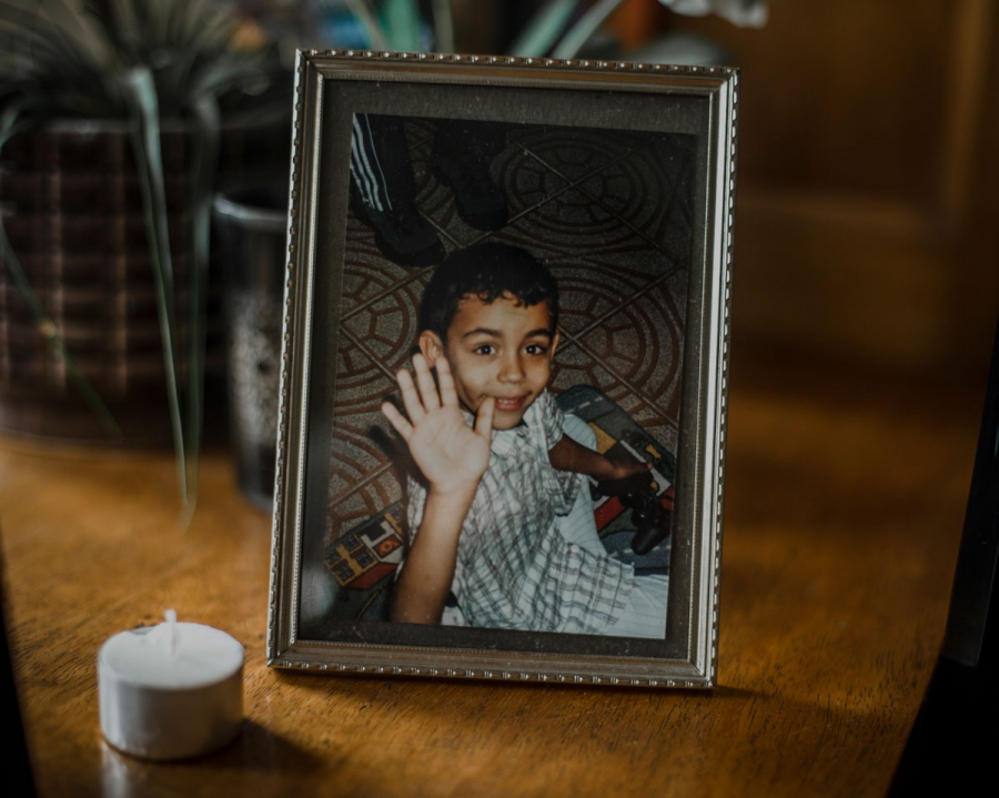 According to Saliha, this is the most important photograph she has of her son Sabri, who was killed in Syria in December 2013. In this picture, he is saying goodbye: this is how she wants to remember him. (Poulomi Basu/VII Mentor)