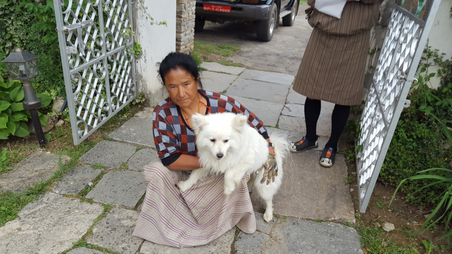 """Dog """"ownership"""" is a loose concept in Bhutan. Most are considered community dogs. Nevertheless, this one accompanies this woman to work each day. She works as a gardener at a hotel in Paro, Bhutan."""