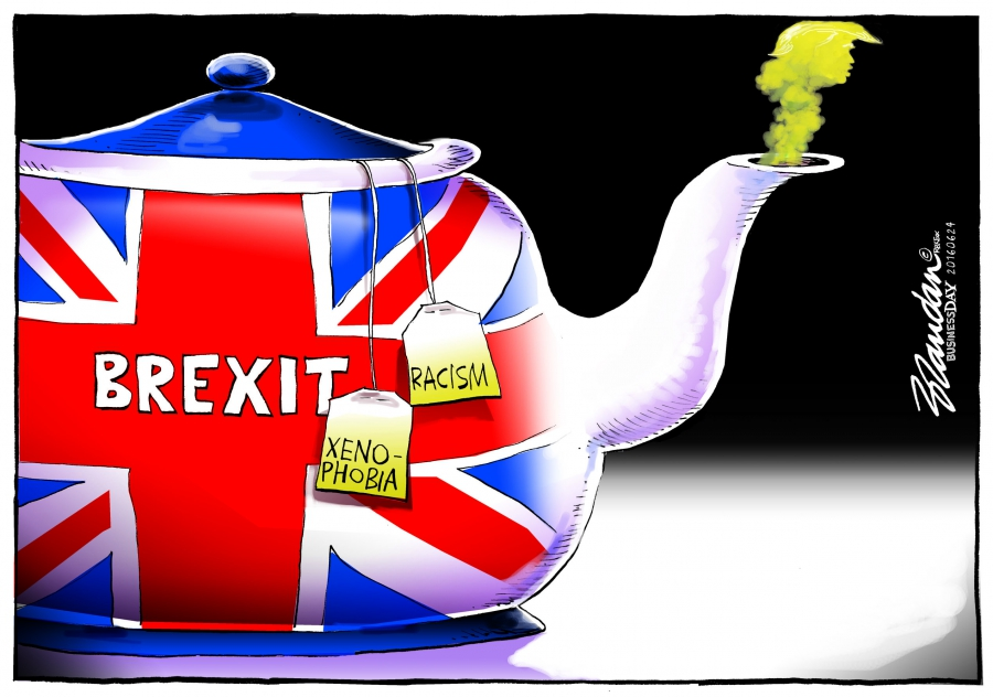 A pot of tea (UK) steeping with tea bags that represent xenophobia and racism and the stench of Trump