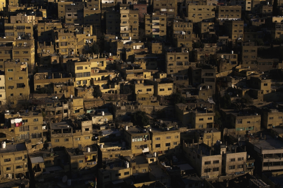 A view of Jabal Al Hussein Camp in Amman, Jordan. Originally built 1952 as a refugee camp for Palestinians fleeing conflict from the Arab-Israeli War, it has morphed into a permanent neighborhood in downtown Amman that houses Syrians and Egyptians, along