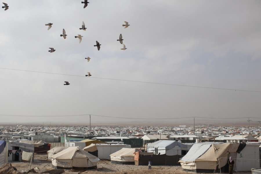 A view of Zaatari refugee camp. First opened on July 23, 2012 as a temporary settlement in Jordan for Syrians fleeing conflict has since turned into a permanent fixture resembling a small city rather than a temporary refugee camp. There is an estimated ov
