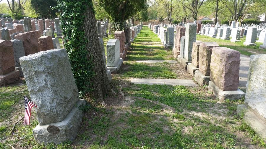 Repaired headstones in Chesed Shel Emeth cemetery in St. Louis