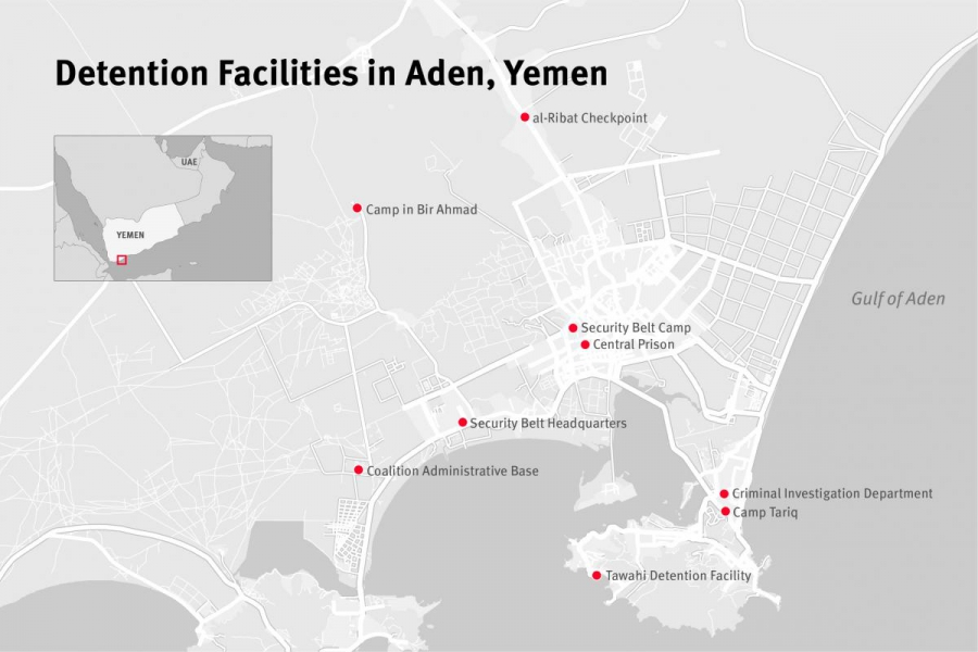Map of secret detention facilities in Aden, southern Yemen