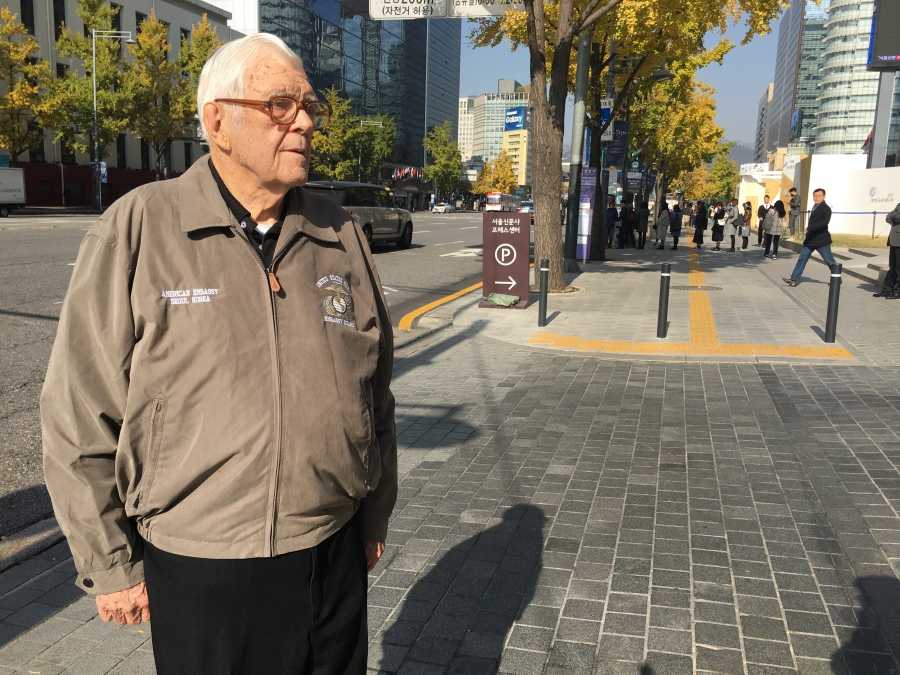 George Lampman in Seoul in 2017. The city has changed a lot since he first arrived there as a young marine in 1949.