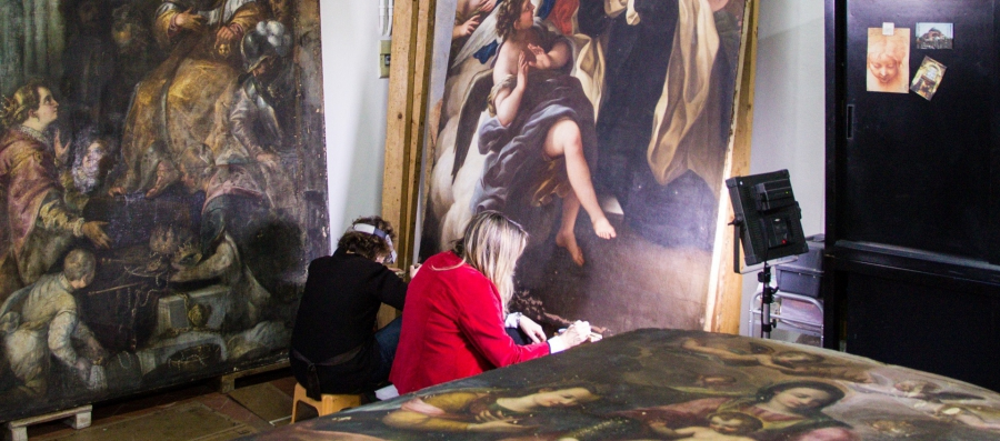 Conservators restore the work of Violante Siries Cerrotti, a 16th century artist from Florence.