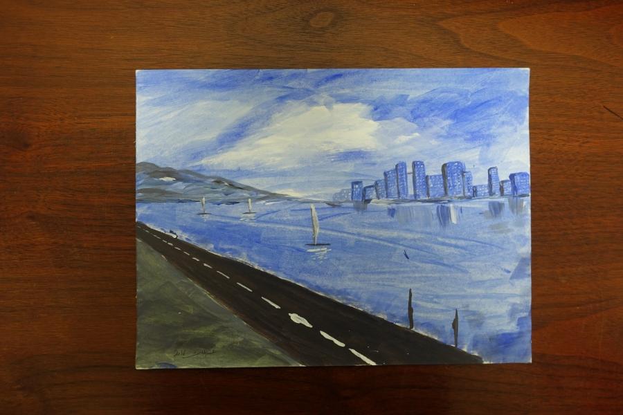 Untitled (Cityscape) by Abdulmalik al-Rahabi.