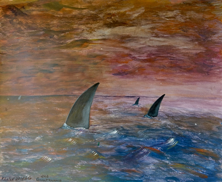 Untitled (Fins in the Ocean) by Khalid Qasim.