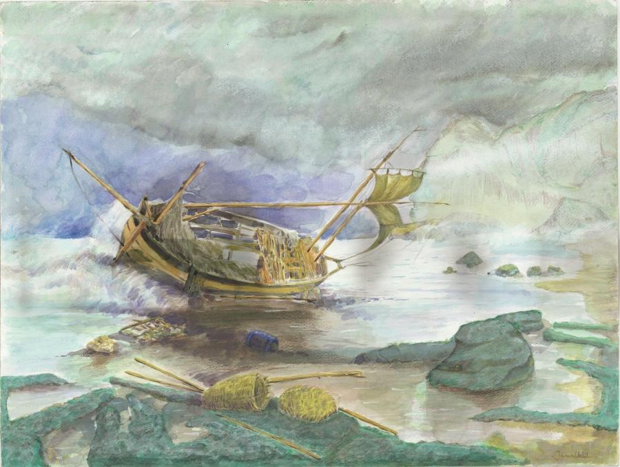 Untitled (Shipwrecked Boat) by Djamel Ameziane.