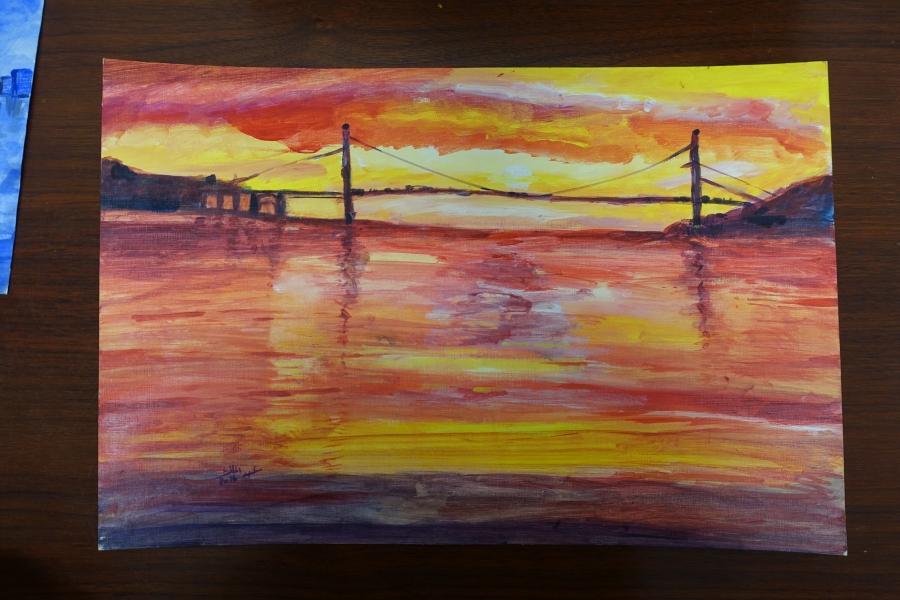 Untitled (Sunset with Bridge) by Abdulmalik al-Rahabi.