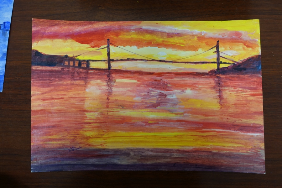 Untitled (Sunset with Bridge) by Abdulmalik al-Rahabi.