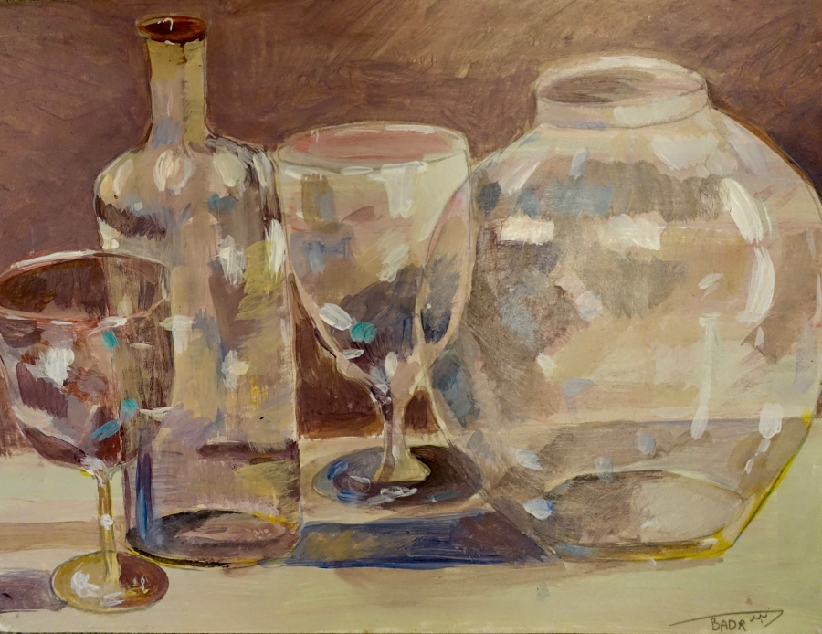 Untitled (Still Life of Glassware), work on paper by Ahmed Rabbani.