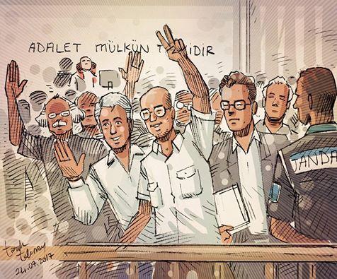 Cumhuriyet political cartoonist Musa Kart, investigative reporter Ahmet Kik and columnist Kadri Gursel in court.