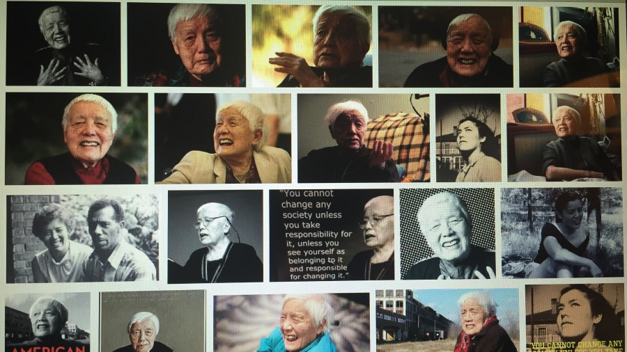A montage of Grace Lee Boggs images and quotes