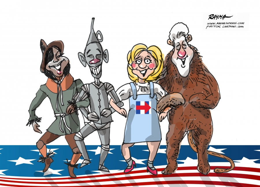 Scarecrow, Tin Man, Lion and Dorothy swapped out as both Clintons, Barack and Michelle