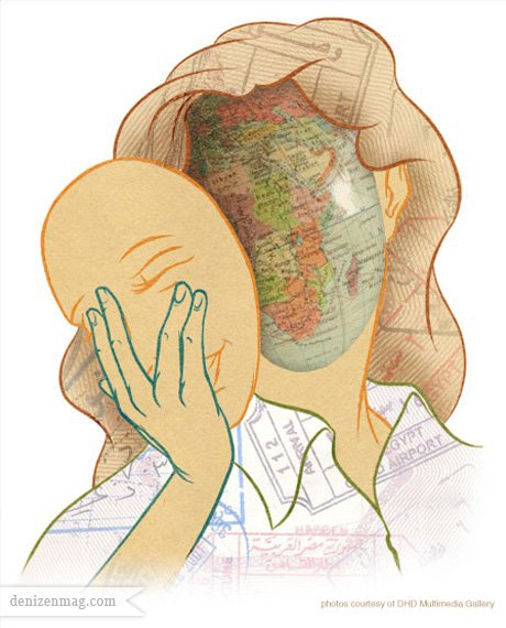 Drawing of woman taking of her face to show a globe```