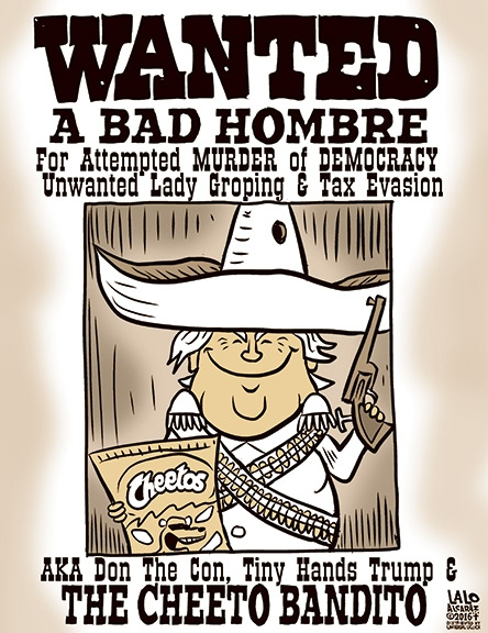 Wanted poster by Lalo Alcaraz