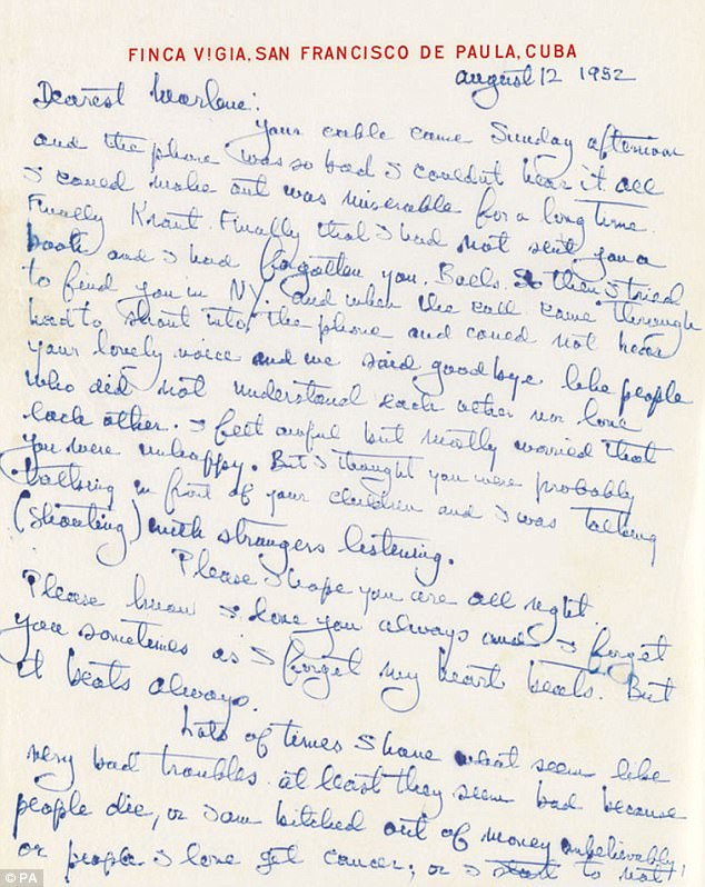 "Ernest Hemingway's letter to Marlene Dietrich, in which he says ""I always love you and admire you."""