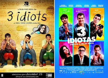 Film posters for 3 Idiots and 3 Idiotas
