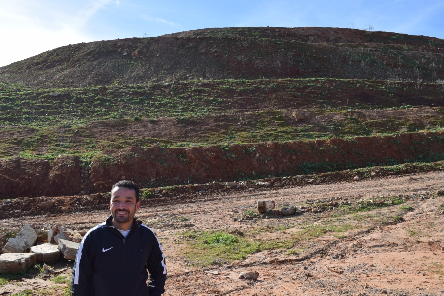 Yassine Mazzout at the site of the former landfill outside Morocco's capital Rabat, where he worked as a trash picker as a teenager. Mazzout is now the president of the At-Tawafouk recycling cooperative.