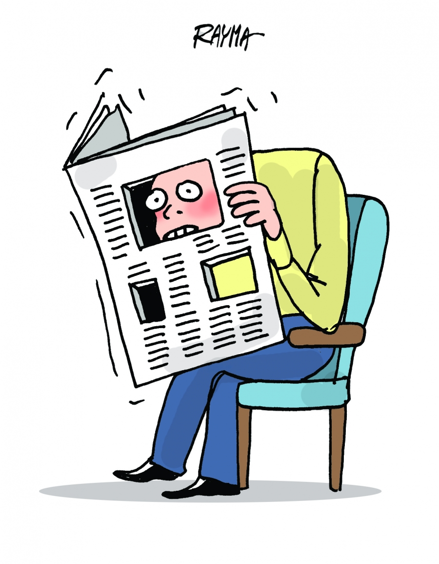 cartoon of man looking at newspaper with big hole in it
