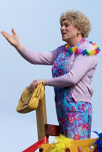Jón Gnarr, then-mayor of Reykjavik, dressed in drag at the head of the Gay Pride 2010 march through Reykjavik