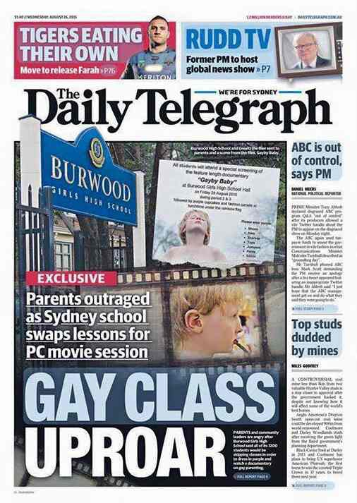 "The cover of the Daily Telegraph in Australia, with a headline that reads ""GAY CLASS UPROAR"""