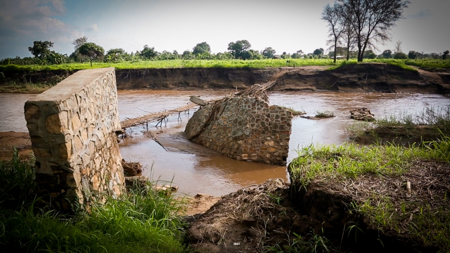 This washed-out bridge across the Thondwe River was Makawa's only link to the outside world.