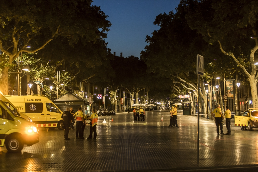 Las Ramblas of Barcelona, cordoned off the night after the attack.