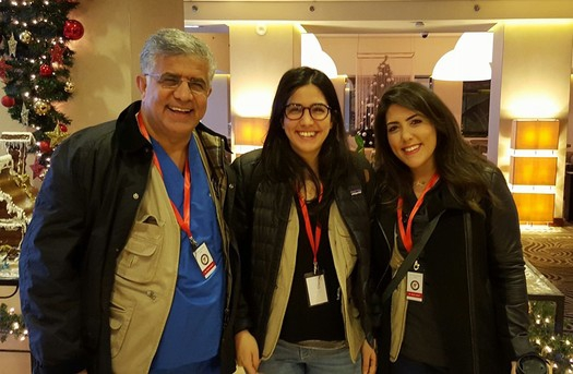 Omar, Zeena and Amal at an orientation session before going into Zaatari refugee camp.