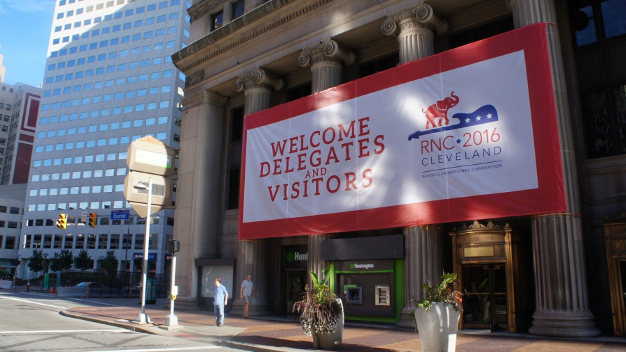 A sign welcoming delegates and visitors to the RNC in Cleveland