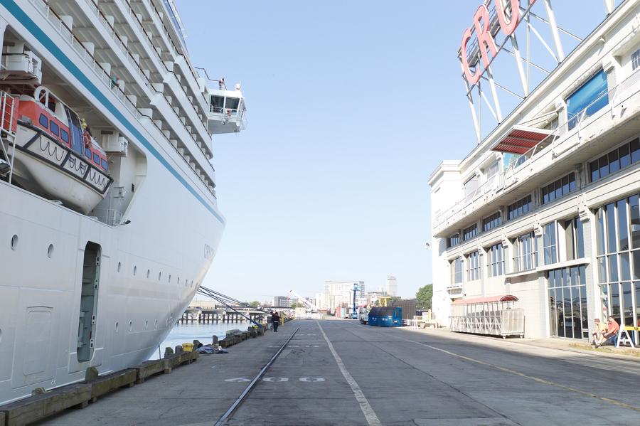 Cruise ship at a terminal