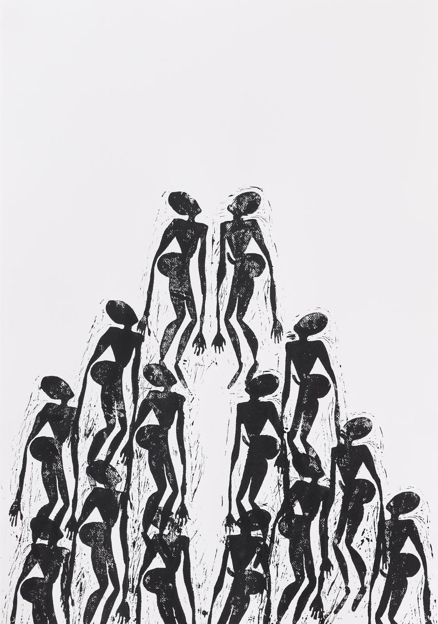 Black and  White Linocut of Khoisan Bushmen