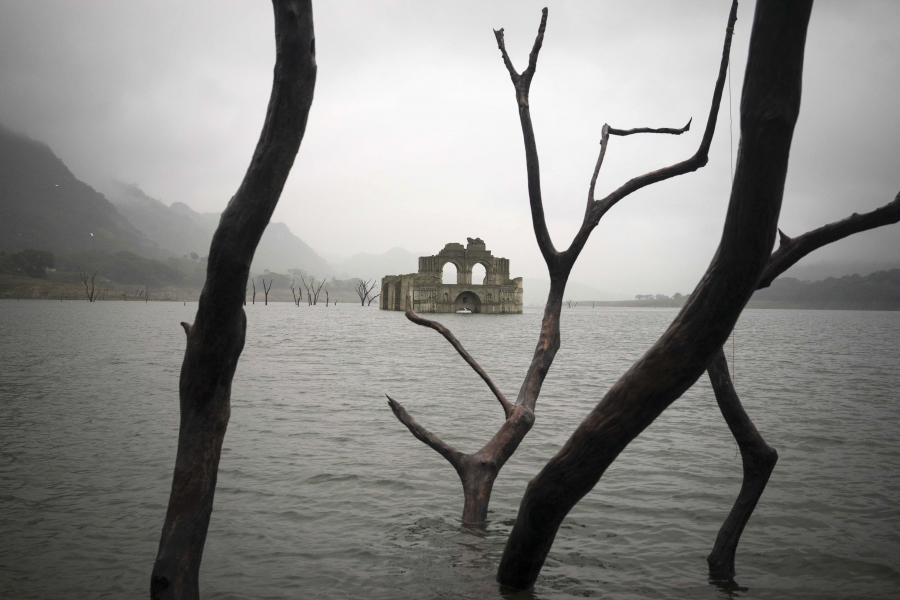 The recently exposed ruins of a 16th century church known as the Temple of Quechula built by Dominican friars in the region inhabited by the Zoque people. It was submerged in 1966 when the Nezahualcoyotl dam was built.