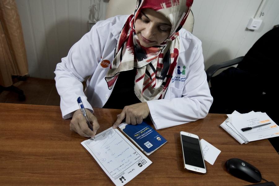 Dr. Rima Diab at the maternity clinic in Zaatari refugee camp.