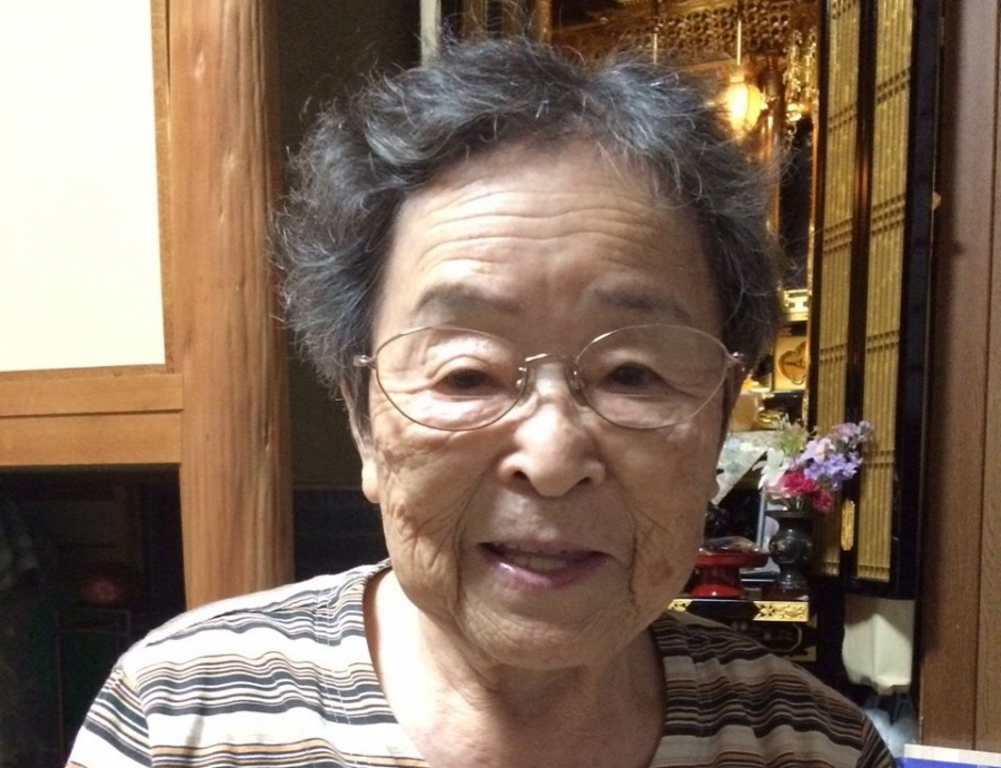 Akiyo Kano, grandmother of Aya Kano. Kano was 18 in 1945, and was was exposed to radiation when she went to Hiroshima the day after the blast to look for her younger brother, Fumiharu. No trace of him was found.