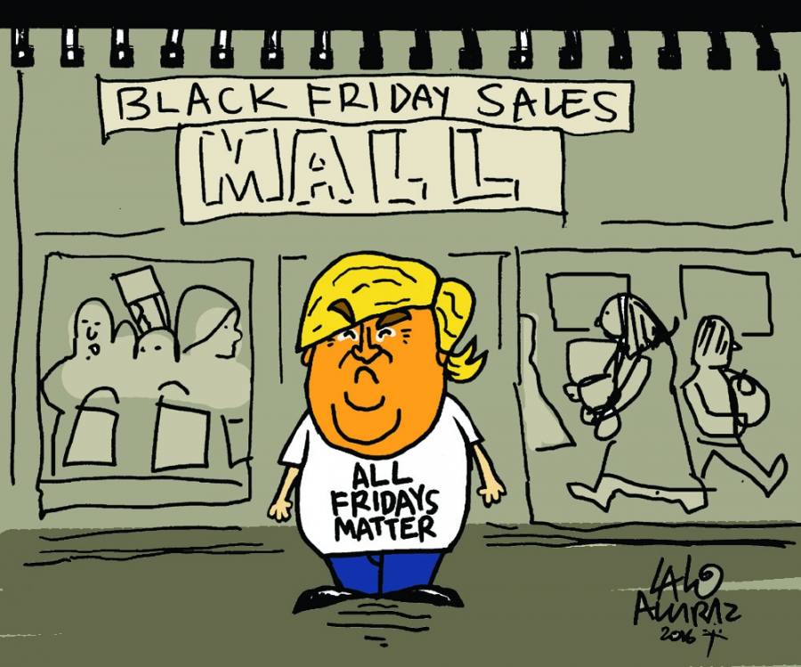Cartoon showing Donald Trump complaining about Black Friday sales, that All Fridays matter