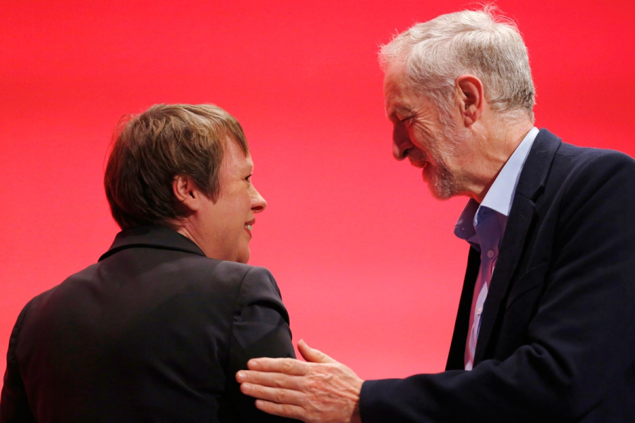 Labour party leader Jeremy Corbyn and now former shadow Defense Secretary Angela Eagle,  September, 2015.
