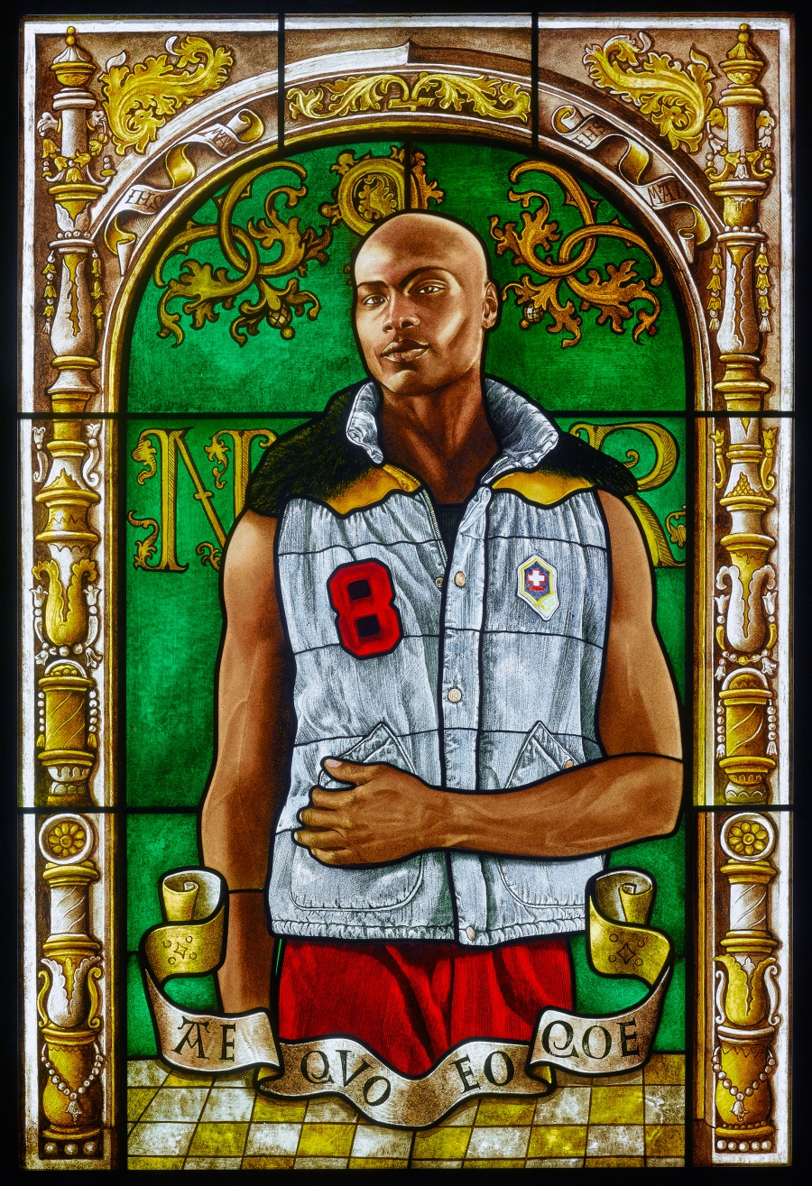 Arms of Nicolaas Ruterius, Bishop of Arras, stained glass portrait by Kehinde Wiley, 2014